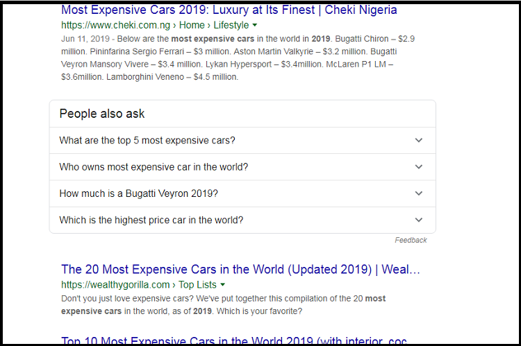 most expensive cars in 2019 serp