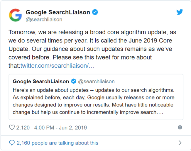 Google june core update announcement on twitter
