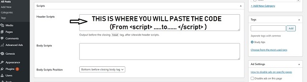 add post to header script in WordPress post editor
