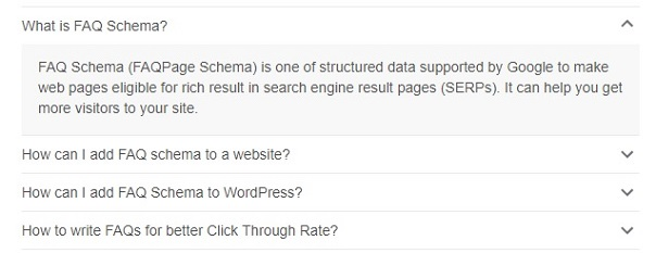 faq schema answer in serp