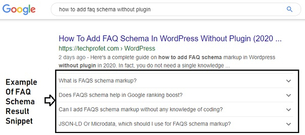 faq schema result example