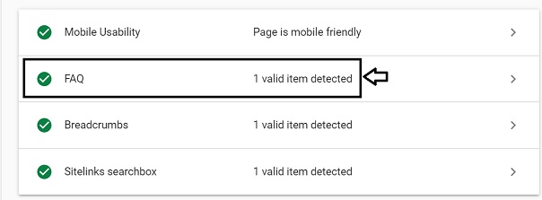 faq detected on google search console