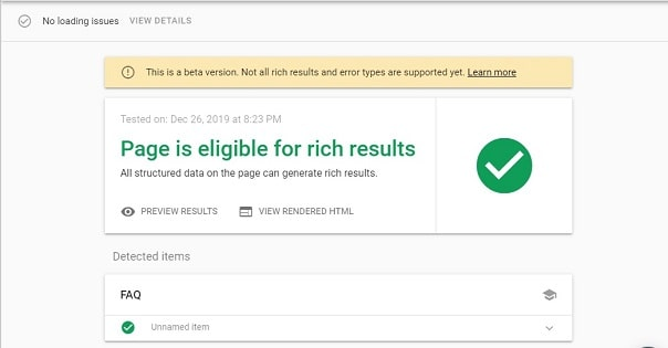 page is eligible for faq rich result