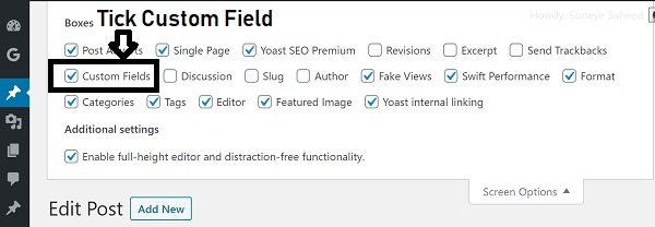 tick custom fields in wordpress editor