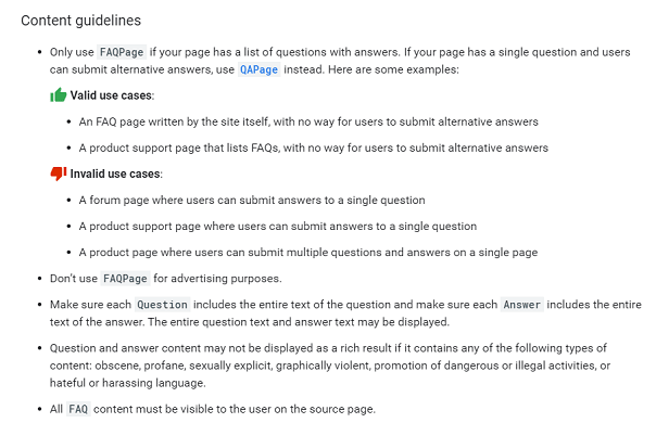 google faq guidelines