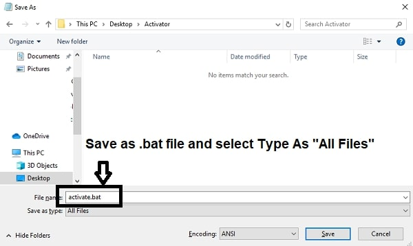 save code as bat file